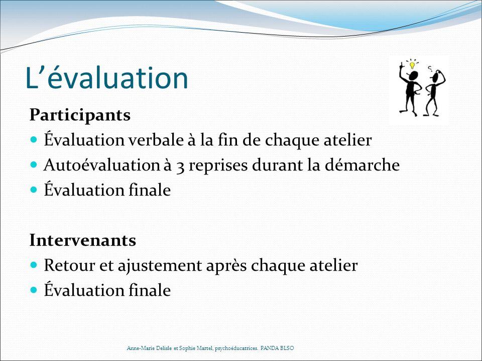 Lévaluation Participants Évaluation verbale à la fin de chaque atelier Autoévaluation à 3 reprises durant la démarche Évaluation finale Intervenants R
