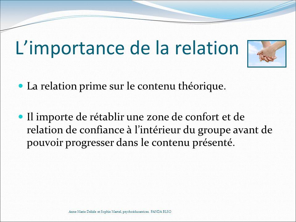 Limportance de la relation La relation prime sur le contenu théorique. Il importe de rétablir une zone de confort et de relation de confiance à lintér
