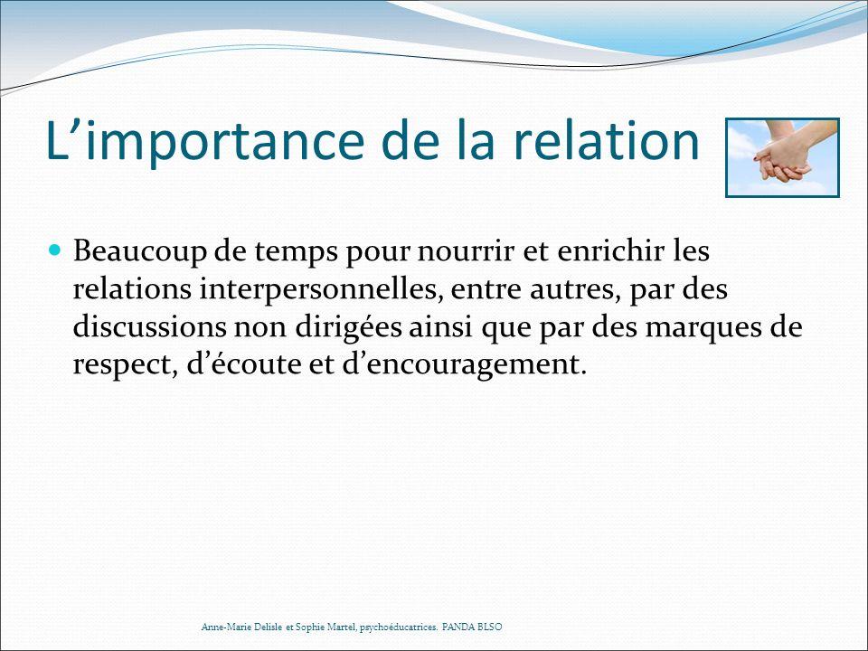 Limportance de la relation Beaucoup de temps pour nourrir et enrichir les relations interpersonnelles, entre autres, par des discussions non dirigées