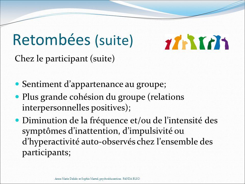 Retombées (suite) Chez le participant (suite) Sentiment dappartenance au groupe; Plus grande cohésion du groupe (relations interpersonnelles positives