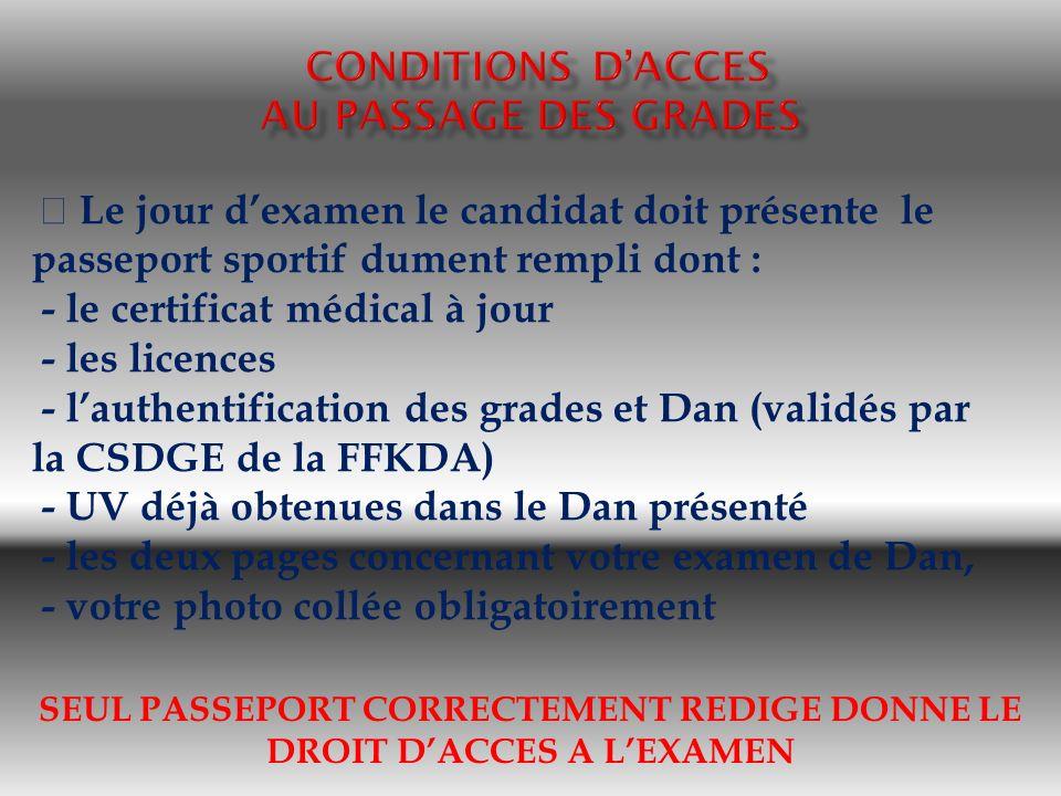 SEUL PASSEPORT CORRECTEMENT REDIGE DONNE LE DROIT DACCES A LEXAMEN Le jour dexamen le candidat doit présente le passeport sportif dument rempli dont :