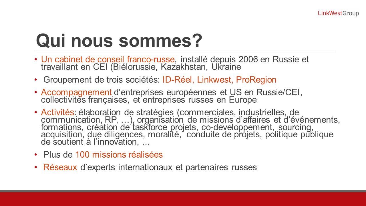 Qui nous sommes? Un cabinet de conseil franco-russe, installé depuis 2006 en Russie et travaillant en CEI (Biélorussie, Kazakhstan, Ukraine Groupement