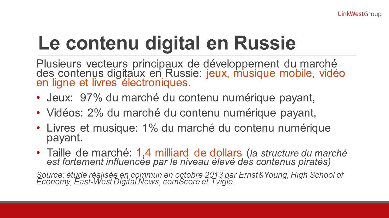 Le contenu digital en Russie Plusieurs vecteurs principaux de développement du marché des contenus digitaux en Russie: jeux, musique mobile, vidéo en ligne et livres électroniques.