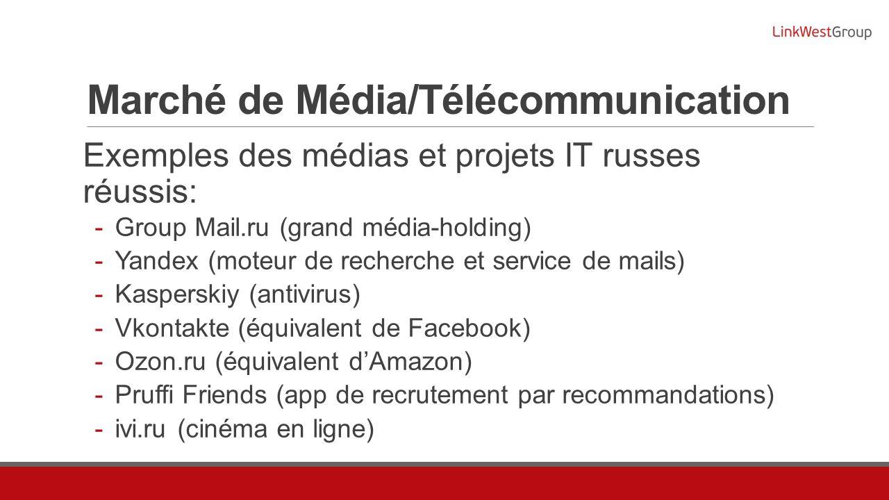 Marché de Média/Télécommunication Exemples des médias et projets IT russes réussis: Group Mail.ru (grand média-holding) Yandex (moteur de recherche et