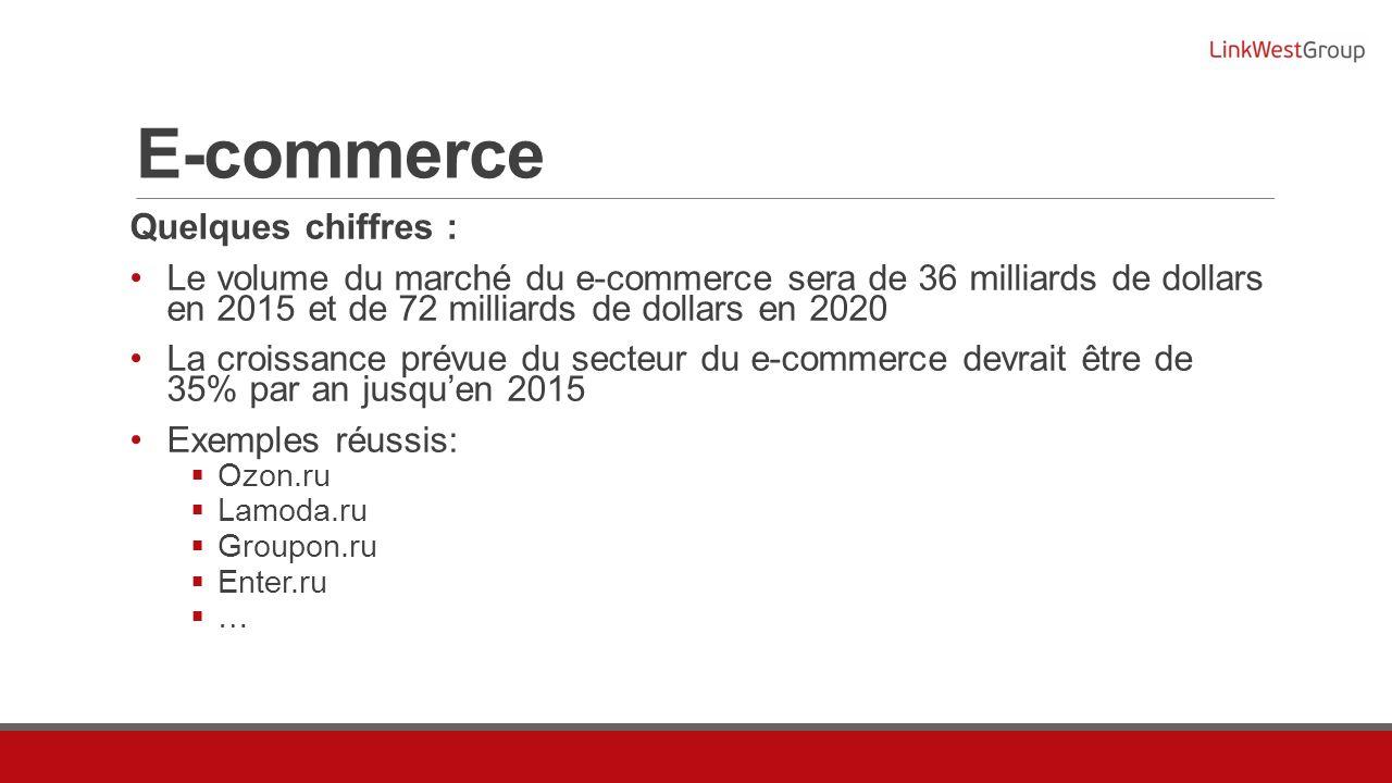 E-commerce Quelques chiffres : Le volume du marché du e-commerce sera de 36 milliards de dollars en 2015 et de 72 milliards de dollars en 2020 La croissance prévue du secteur du e-commerce devrait être de 35% par an jusquen 2015 Exemples réussis: Ozon.ru Lamoda.ru Groupon.ru Enter.ru …