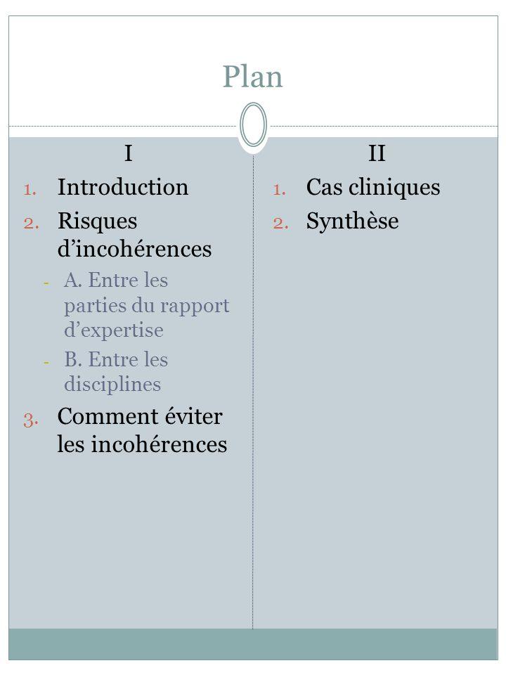 Plan I 1. Introduction 2. Risques dincohérences - A. Entre les parties du rapport dexpertise - B. Entre les disciplines 3. Comment éviter les incohére