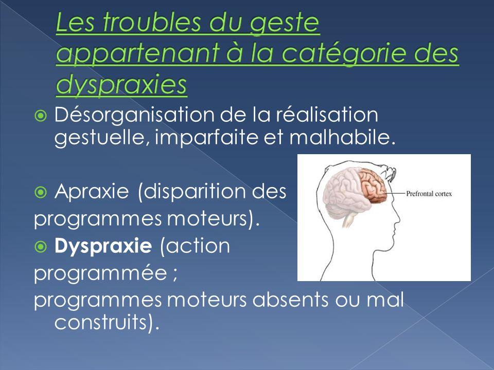 Désorganisation de la réalisation gestuelle, imparfaite et malhabile. Apraxie (disparition des programmes moteurs). Dyspraxie (action programmée ; pro