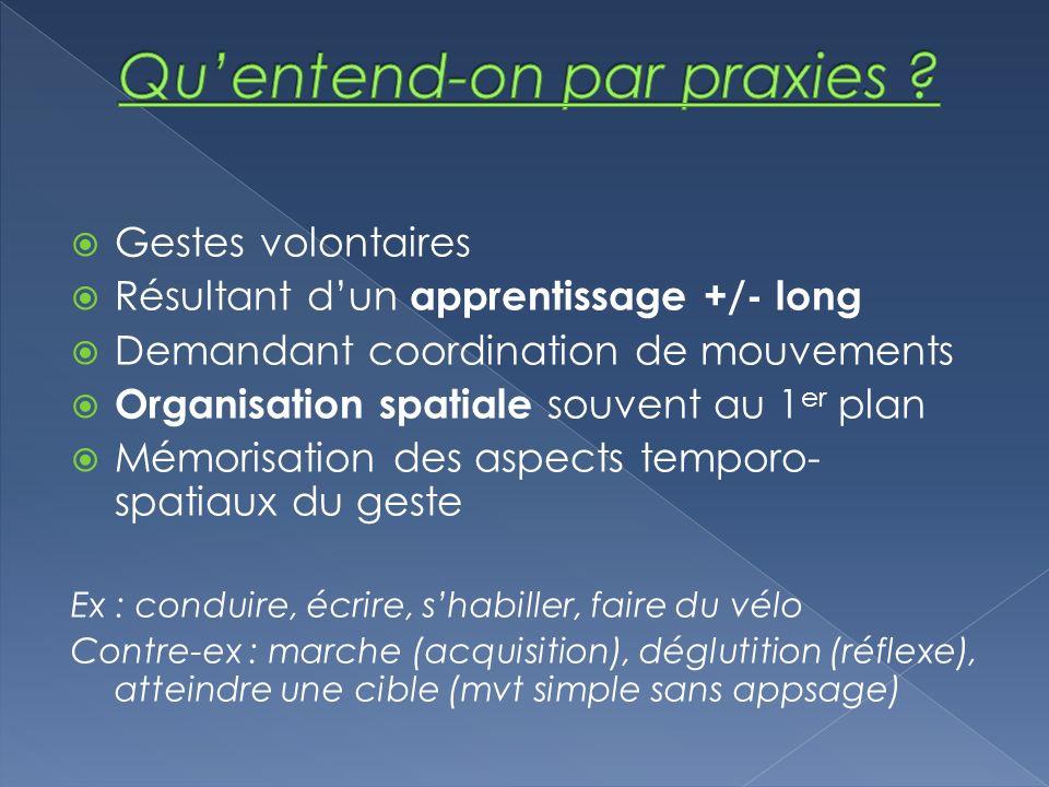 Gestes volontaires Résultant dun apprentissage +/- long Demandant coordination de mouvements Organisation spatiale souvent au 1 er plan Mémorisation d