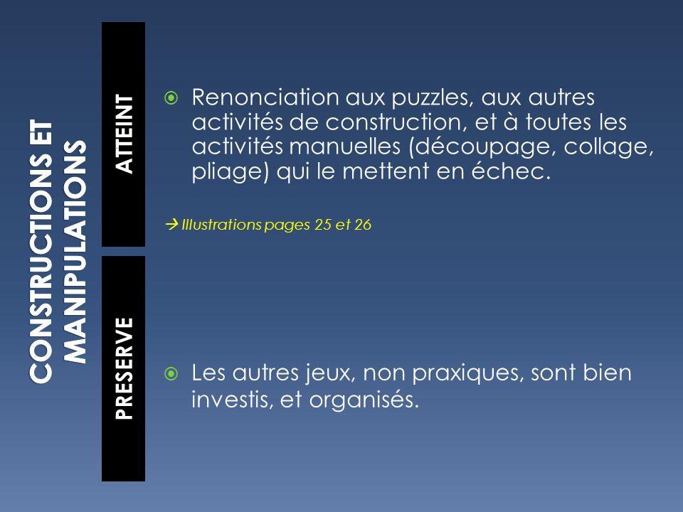 ATTEINT PRESERVE Renonciation aux puzzles, aux autres activités de construction, et à toutes les activités manuelles (découpage, collage, pliage) qui