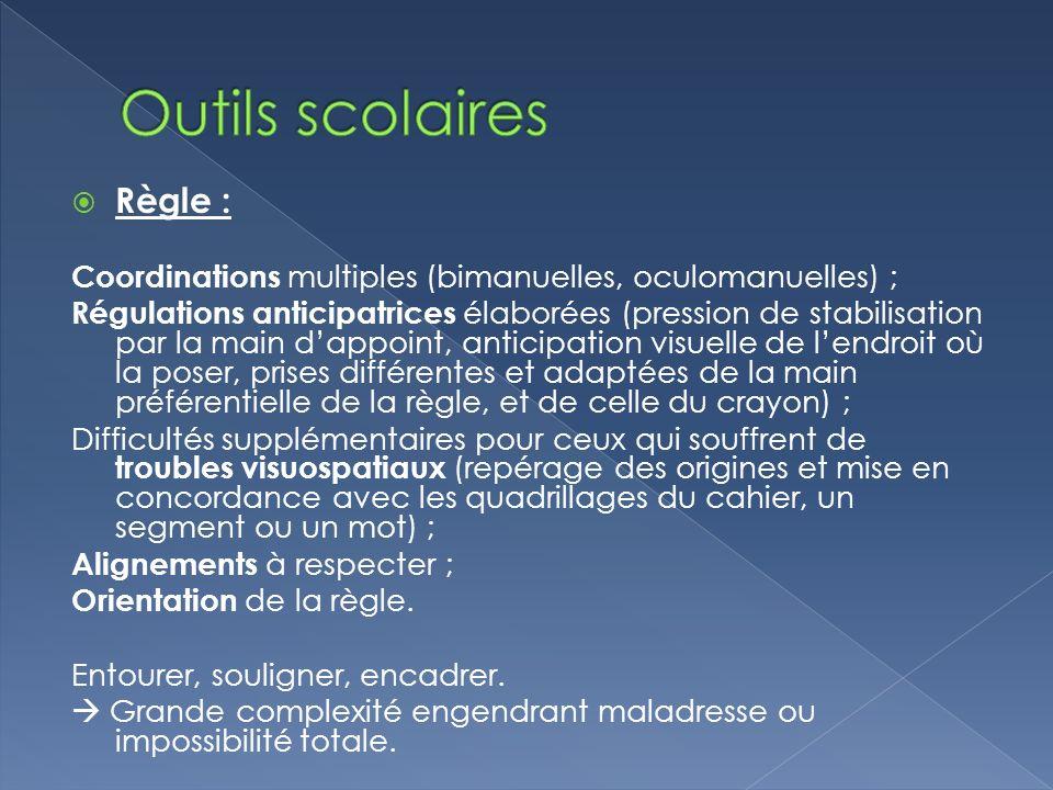 Règle : Coordinations multiples (bimanuelles, oculomanuelles) ; Régulations anticipatrices élaborées (pression de stabilisation par la main dappoint,