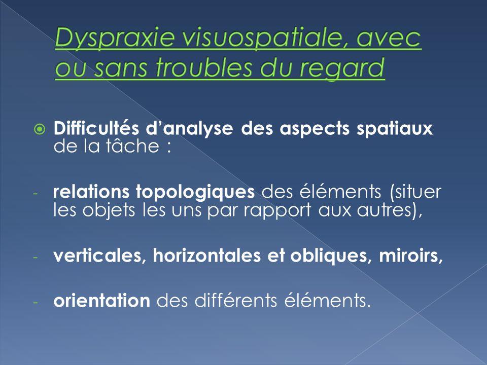 Difficultés danalyse des aspects spatiaux de la tâche : - relations topologiques des éléments (situer les objets les uns par rapport aux autres), - ve