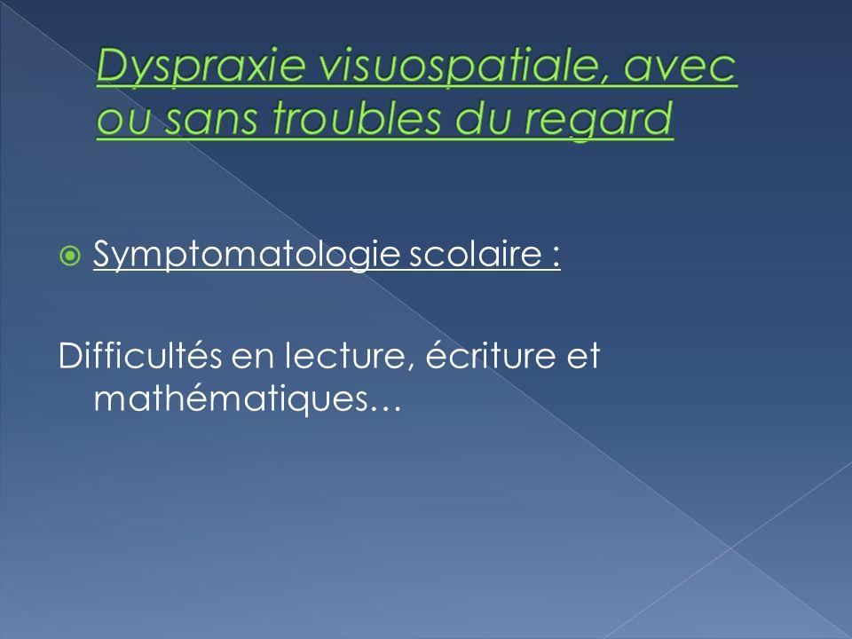 Symptomatologie scolaire : Difficultés en lecture, écriture et mathématiques…
