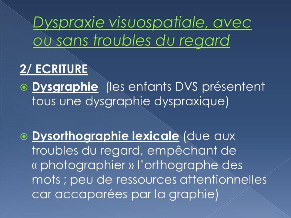 2/ ECRITURE Dysgraphie (les enfants DVS présentent tous une dysgraphie dyspraxique) Dysorthographie lexicale (due aux troubles du regard, empêchant de