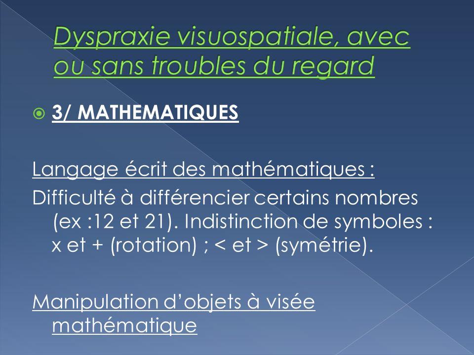 3/ MATHEMATIQUES Langage écrit des mathématiques : Difficulté à différencier certains nombres (ex :12 et 21). Indistinction de symboles : x et + (rota
