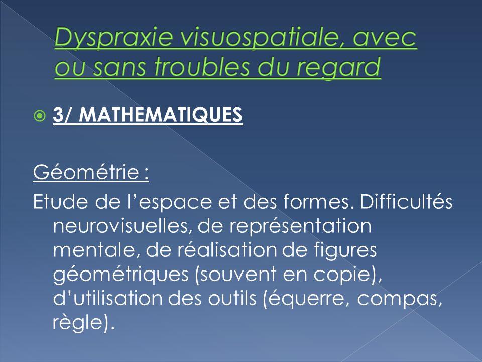 3/ MATHEMATIQUES Géométrie : Etude de lespace et des formes. Difficultés neurovisuelles, de représentation mentale, de réalisation de figures géométri