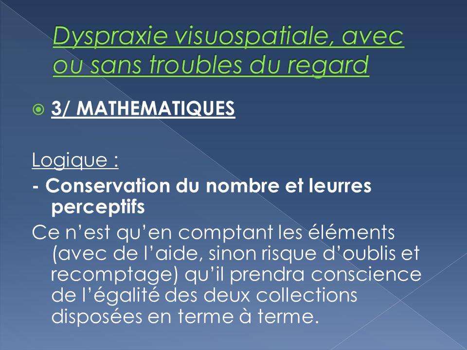 3/ MATHEMATIQUES Logique : - Conservation du nombre et leurres perceptifs Ce nest quen comptant les éléments (avec de laide, sinon risque doublis et r