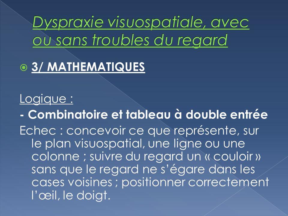 3/ MATHEMATIQUES Logique : - Combinatoire et tableau à double entrée Echec : concevoir ce que représente, sur le plan visuospatial, une ligne ou une c