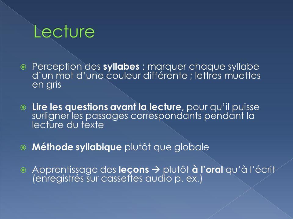 Perception des syllabes : marquer chaque syllabe dun mot dune couleur différente ; lettres muettes en gris Lire les questions avant la lecture, pour q