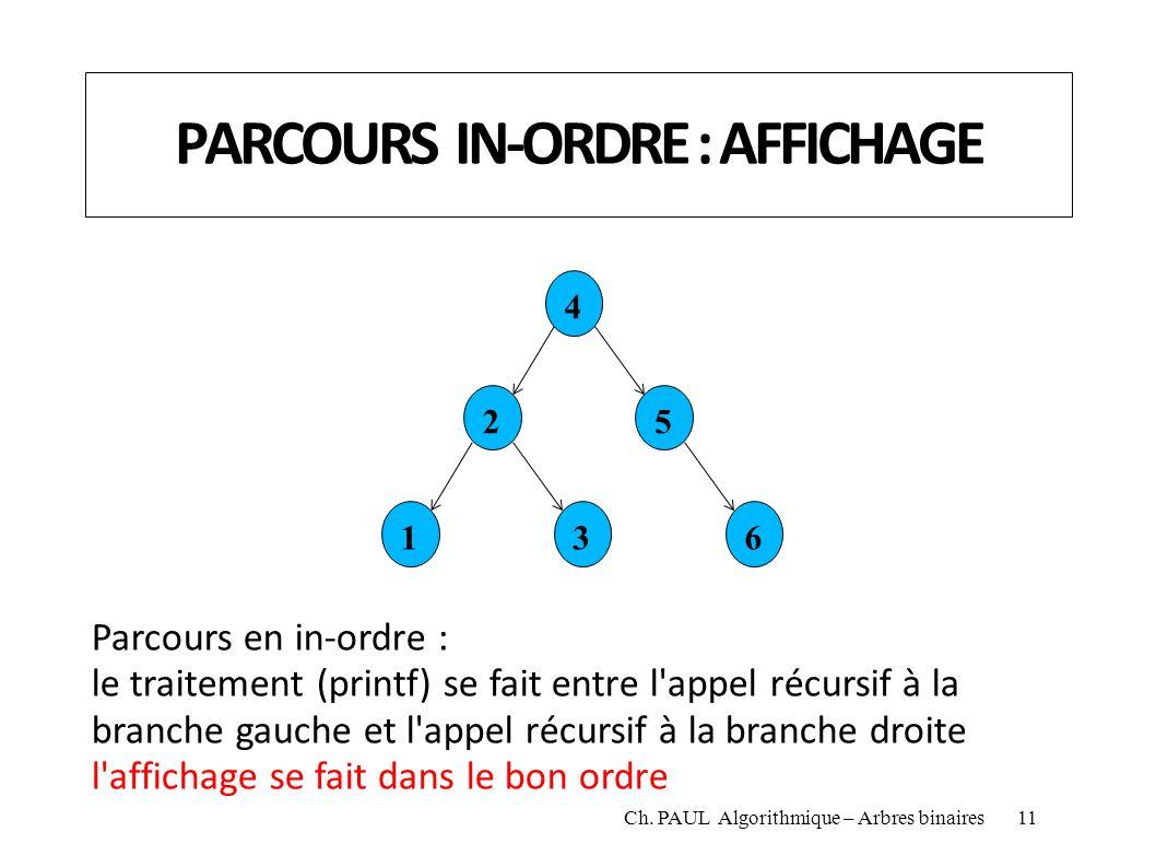 PARCOURS IN-ORDRE : AFFICHAGE 4 25 136 Parcours en in-ordre : le traitement (printf) se fait entre l'appel récursif à la branche gauche et l'appel réc