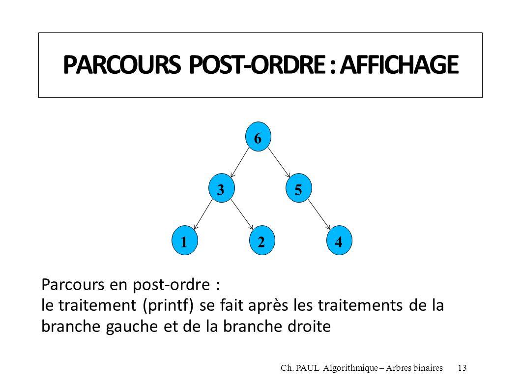 PARCOURS POST-ORDRE : AFFICHAGE 6 35 124 Parcours en post-ordre : le traitement (printf) se fait après les traitements de la branche gauche et de la b