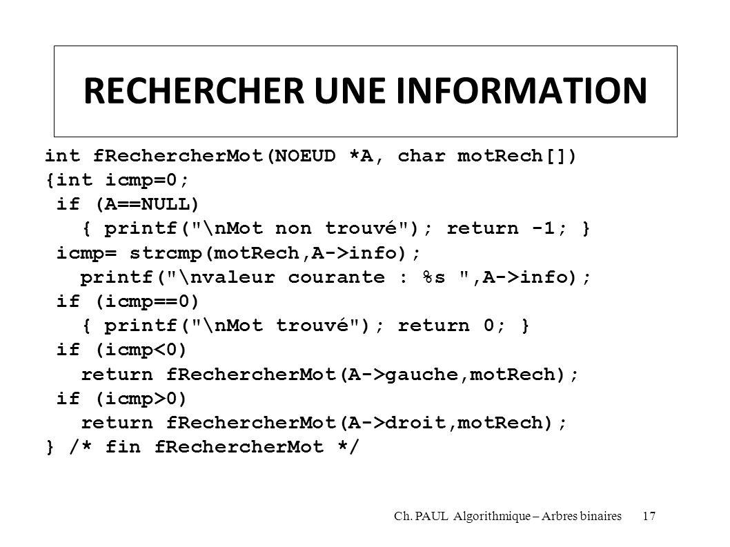 RECHERCHER UNE INFORMATION int fRechercherMot(NOEUD *A, char motRech[]) {int icmp=0; if (A==NULL) { printf(