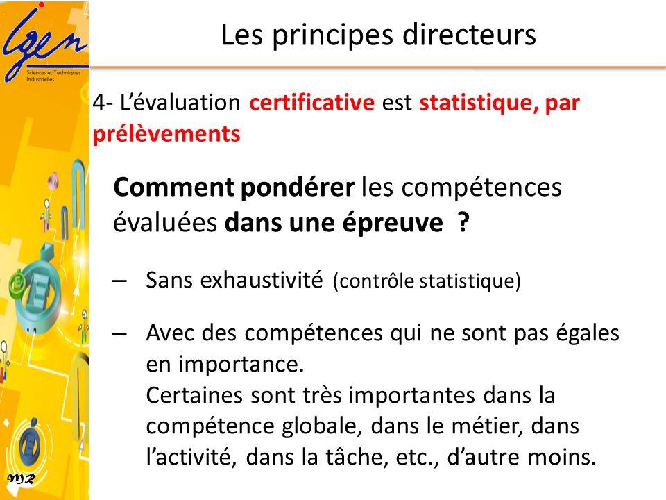 MR Comment pondérer les compétences évaluées dans une épreuve ? – Sans exhaustivité (contrôle statistique) – Avec des compétences qui ne sont pas égal