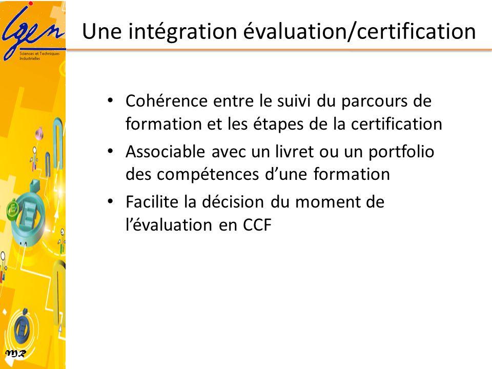 MR Une intégration évaluation/certification Cohérence entre le suivi du parcours de formation et les étapes de la certification Associable avec un liv