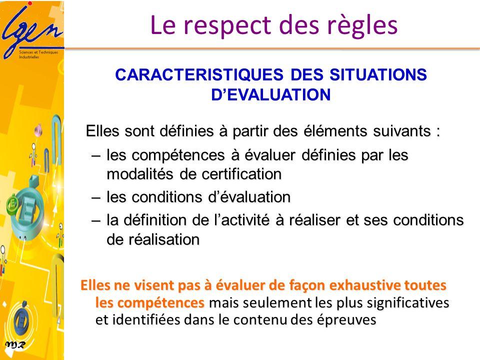 MR CARACTERISTIQUES DES SITUATIONS DEVALUATION Elles sont définies à partir des éléments suivants : –les compétences à évaluer définies par les modali