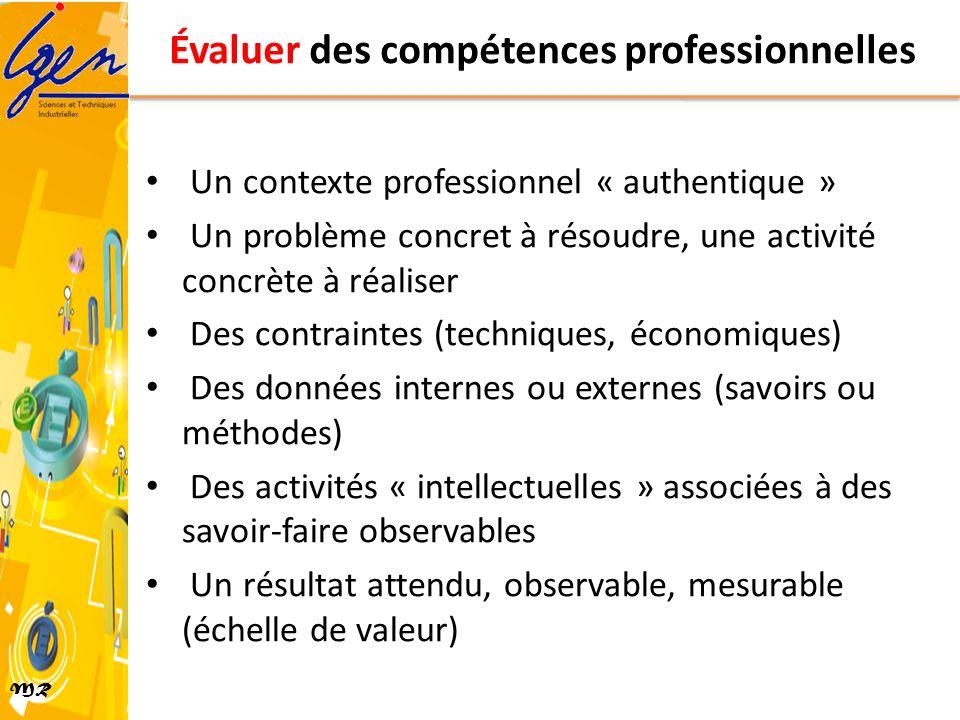 MR Évaluer des compétences professionnelles Un contexte professionnel « authentique » Un problème concret à résoudre, une activité concrète à réaliser