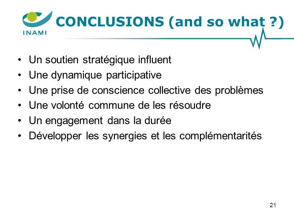 CONCLUSIONS (and so what ) Un soutien stratégique influent Une dynamique participative Une prise de conscience collective des problèmes Une volonté commune de les résoudre Un engagement dans la durée Développer les synergies et les complémentarités 21