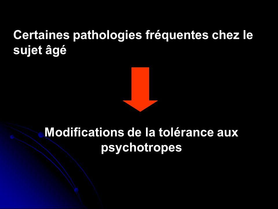 Certaines pathologies fréquentes chez le sujet âgé Modifications de la tolérance aux psychotropes