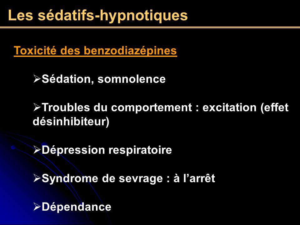 Les sédatifs-hypnotiques Toxicité des benzodiazépines Sédation, somnolence Troubles du comportement : excitation (effet désinhibiteur) Syndrome de sev