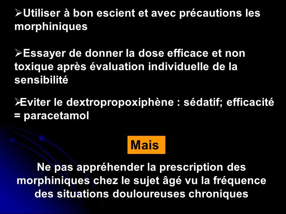Utiliser à bon escient et avec précautions les morphiniques Essayer de donner la dose efficace et non toxique après évaluation individuelle de la sens