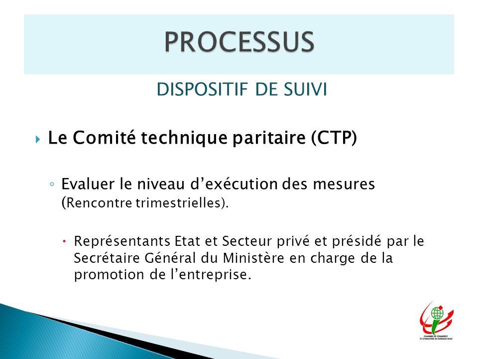 DISPOSITIF DE SUIVI Le Comité technique paritaire (CTP) Evaluer le niveau dexécution des mesures ( Rencontre trimestrielles). Représentants Etat et Se