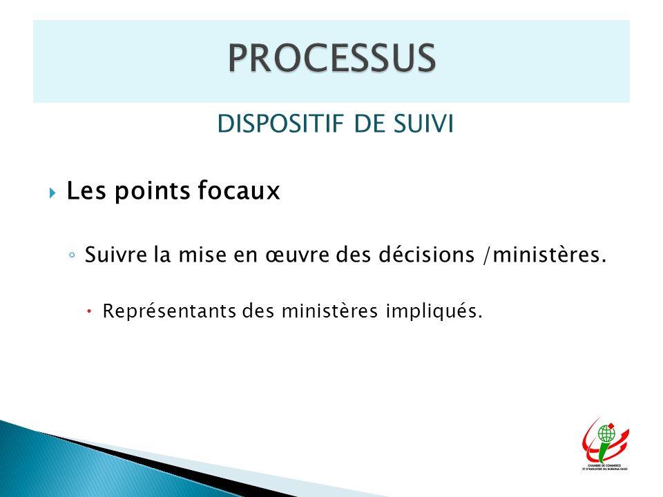 DISPOSITIF DE SUIVI Les points focaux Suivre la mise en œuvre des décisions /ministères. Représentants des ministères impliqués.