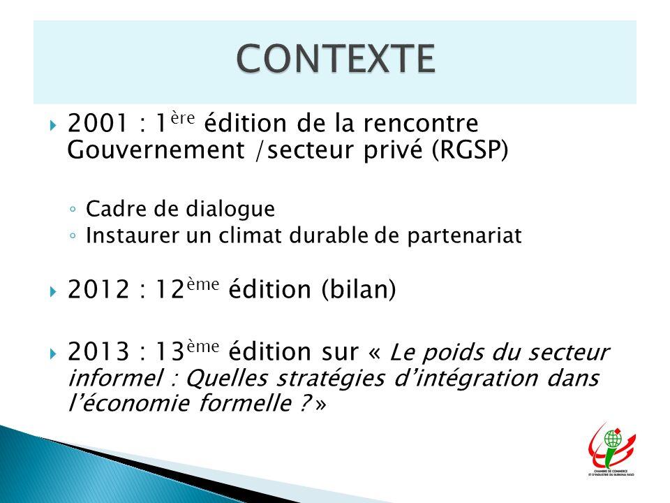 2001 : 1 ère édition de la rencontre Gouvernement /secteur privé (RGSP) Cadre de dialogue Instaurer un climat durable de partenariat 2012 : 12 ème édi