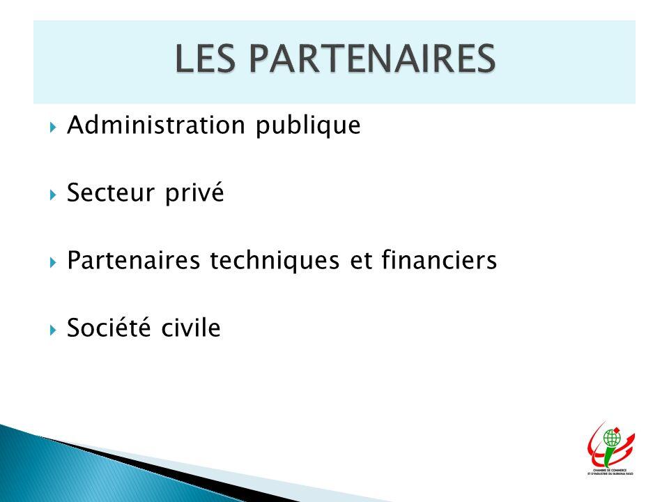 Administration publique Secteur privé Partenaires techniques et financiers Société civile