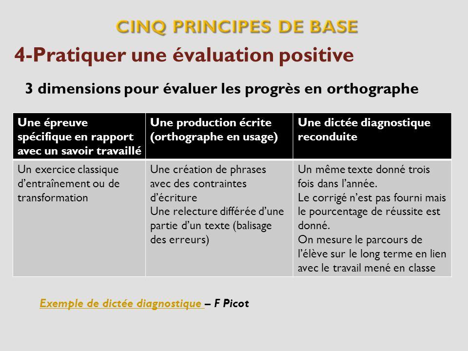 4-Pratiquer une évaluation positive 3 dimensions pour évaluer les progrès en orthographe Une épreuve spécifique en rapport avec un savoir travaillé Un