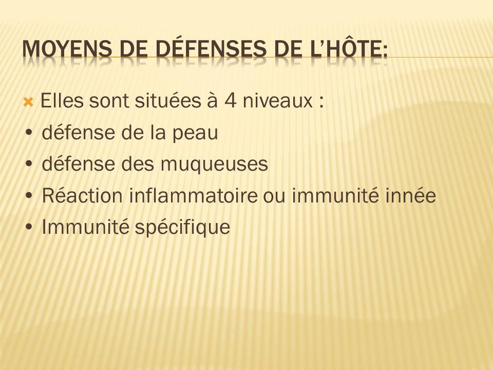 Elles sont situées à 4 niveaux : défense de la peau défense des muqueuses Réaction inflammatoire ou immunité innée Immunité spécifique