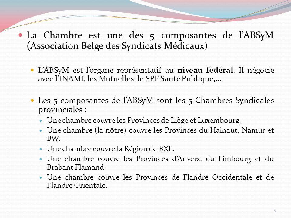 En conclusion : ABSyM = Chambre Syndicale Parle au niveau fédéral Parle au niveau local Remarque : les médecins saffilient aux Chambres Syndicales et non à lABSyM car : services et négociation de proximité.