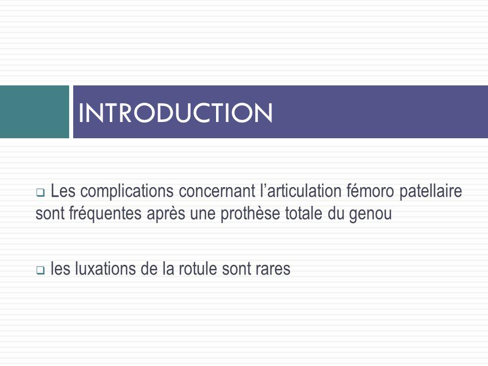Les complications concernant larticulation fémoro patellaire sont fréquentes après une prothèse totale du genou les luxations de la rotule sont rares INTRODUCTION