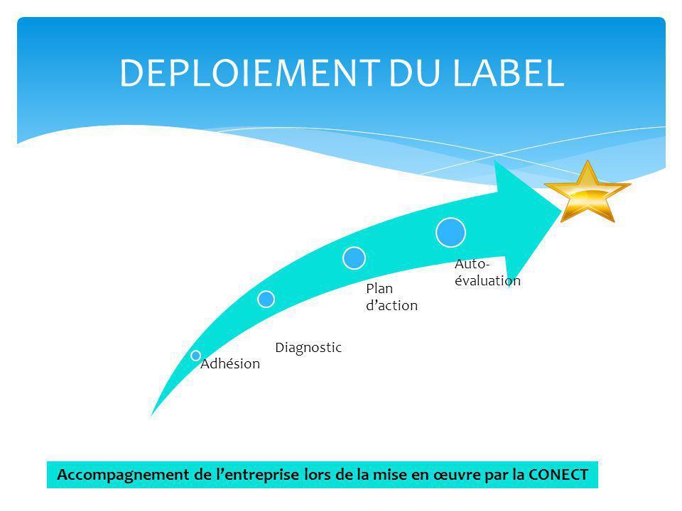 Adhésion Diagnostic Plan daction Auto- évaluation DEPLOIEMENT DU LABEL Accompagnement de lentreprise lors de la mise en œuvre par la CONECT