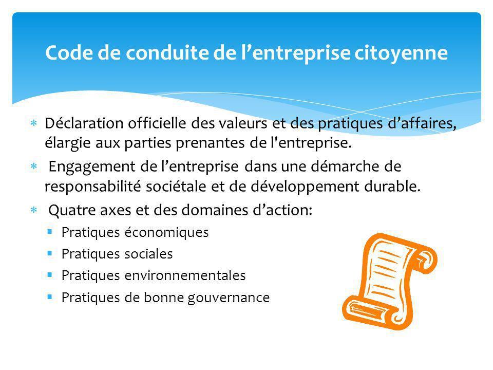 Déclaration officielle des valeurs et des pratiques daffaires, élargie aux parties prenantes de l'entreprise. Engagement de lentreprise dans une démar