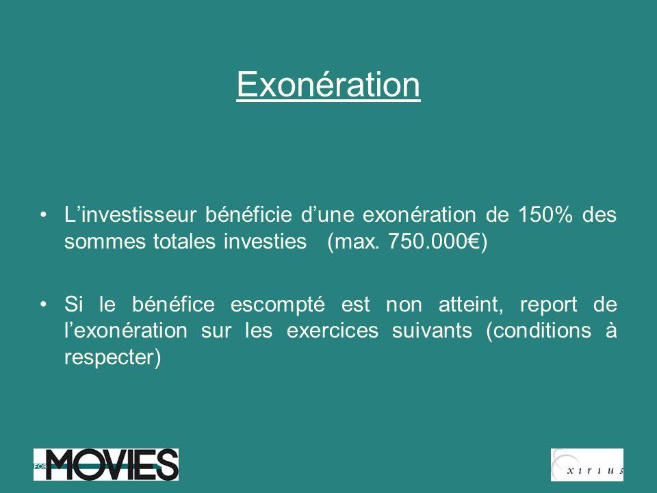 Exonération Linvestisseur bénéficie dune exonération de 150% des sommes totales investies (max. 750.000) Si le bénéfice escompté est non atteint, repo