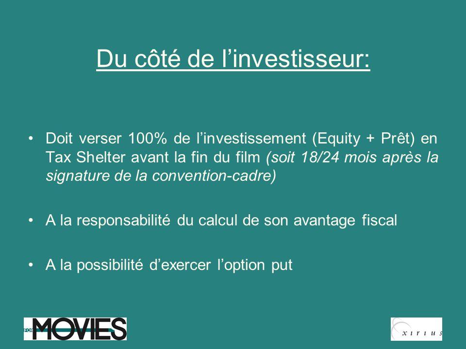 Du côté de linvestisseur: Doit verser 100% de linvestissement (Equity + Prêt) en Tax Shelter avant la fin du film (soit 18/24 mois après la signature