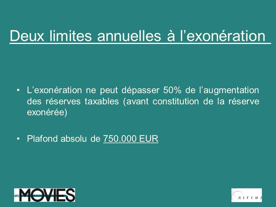 Deux limites annuelles à lexonération Lexonération ne peut dépasser 50% de laugmentation des réserves taxables (avant constitution de la réserve exoné