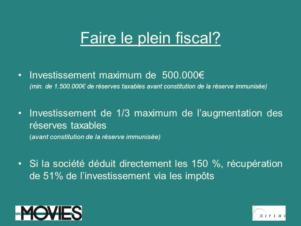 Faire le plein fiscal? Investissement maximum de 500.000 (min. de 1.500.000 de réserves taxables avant constitution de la réserve immunisée) Investiss