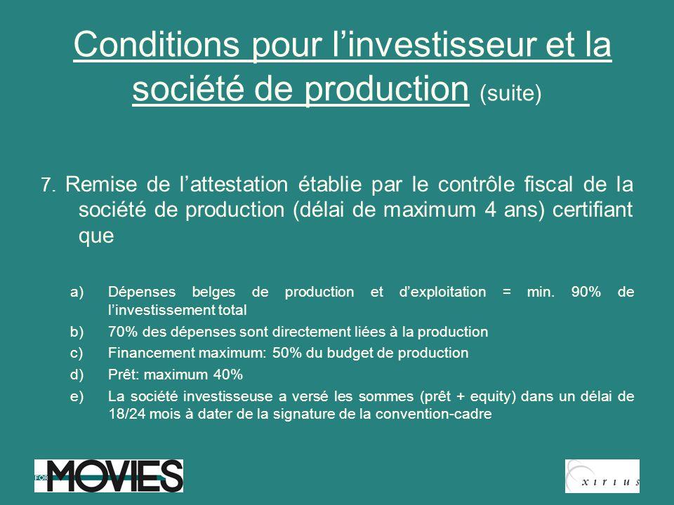Conditions pour linvestisseur et la société de production (suite) 7. Remise de lattestation établie par le contrôle fiscal de la société de production