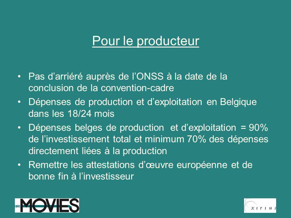 Pour le producteur Pas darriéré auprès de lONSS à la date de la conclusion de la convention-cadre Dépenses de production et dexploitation en Belgique