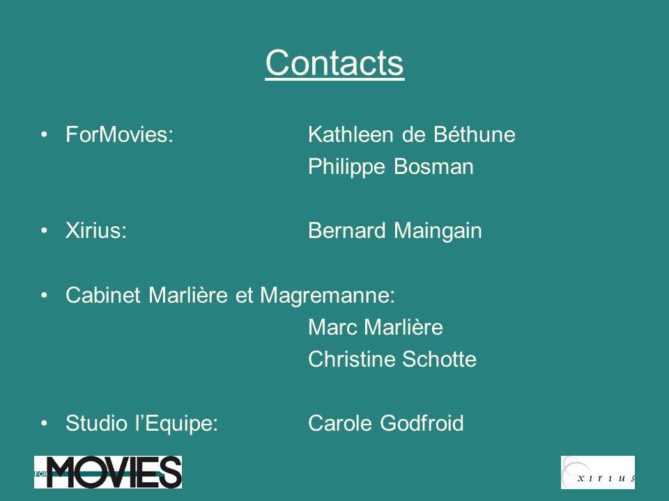 Contacts ForMovies: Kathleen de Béthune Philippe Bosman Xirius: Bernard Maingain Cabinet Marlière et Magremanne: Marc Marlière Christine Schotte Studi